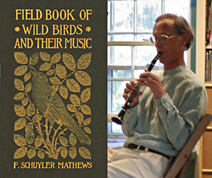 "photo of cover of ""Field Book of Wild Birds and their Music"" and photo of John Greenly"