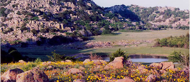 photo of landscape at Wichita Mountains National Wildlife Refuge (from govt. web site)