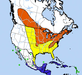 Range map for Rose-breasted Grosbeak